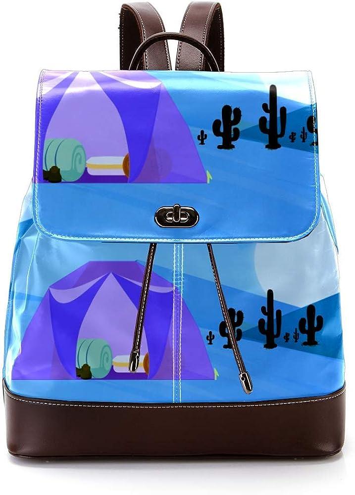 Tent PU Leather Backpack Fashion Shoulder Bag Rucksack Travel Bag for Women Girls