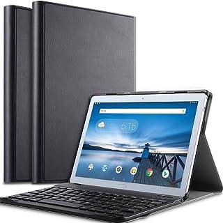 Huawei MatePad Pro 10.8 ワイヤレスキーボード タブレットキーボード レザーケース付き ワイヤレスキーボード キーボードケース Bluetooth キーボード (ブラック)