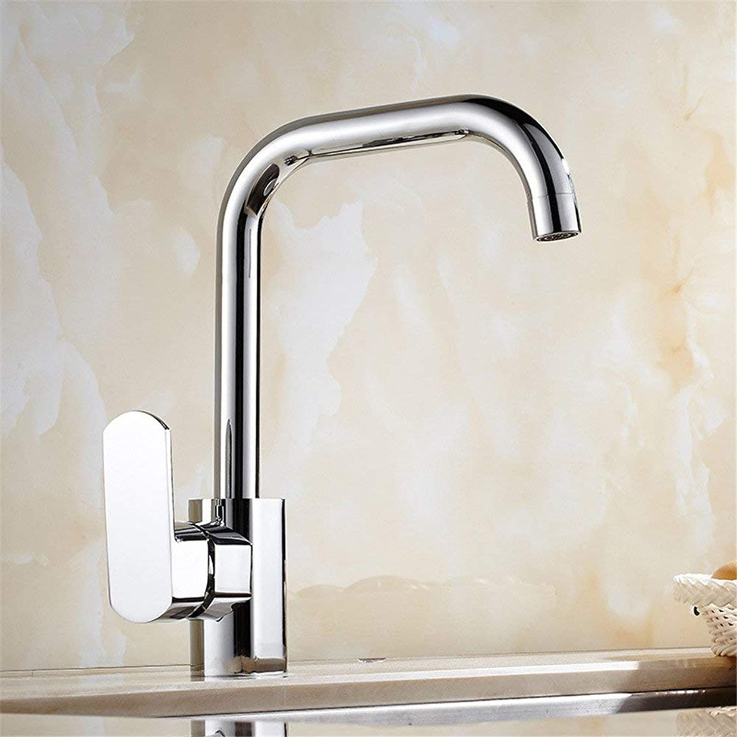 SEEKSUNG Kitchen Sink Taps The Modern All-Brass Chrome Plated Faucet Kitchen Faucet Swivel Faucet Sink Mixer Basin Mixer Taps to Wash Dishes Large Elbow Faucet Single Lever Kitchen Sink Mixer