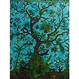 Handicrunch Tagesdecke Lebensbaum türkis blau 240x200cm Vögel Blumen Ontwerp indische Decke Katoen Tie Dye Style