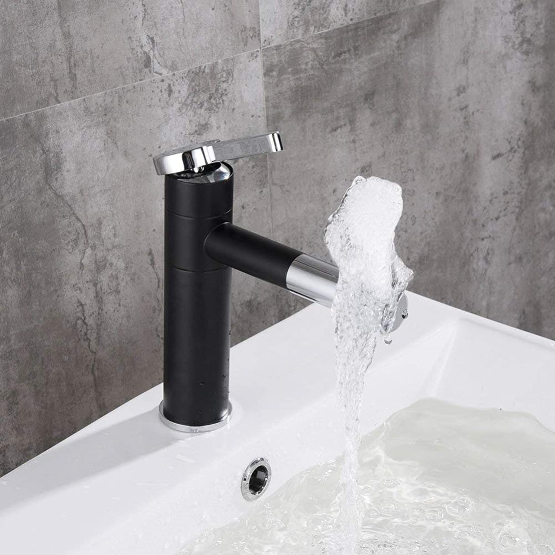 GONGFF Wasserhahn Europischen Becken Wasserhahn Bad heien Wasserhahn Waschbecken rotierenden Wasserhahn Retro schwarz Einlochmontage Wasserhahn