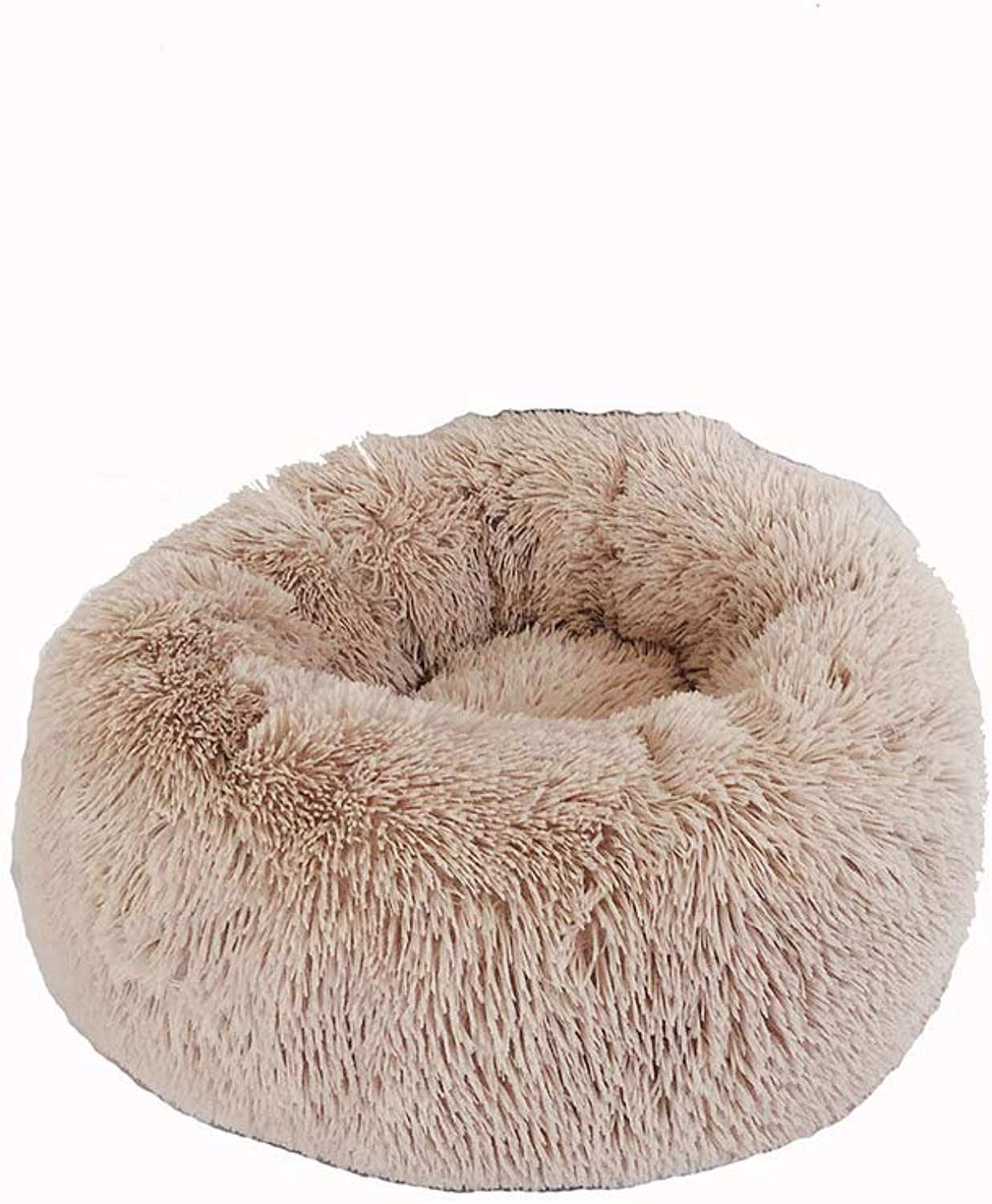 Dog Bed pet Bed,Donut Cuddler,Small and MediumSized Dog Artificial Fur Dog Bed,Self Warming Indoor Round Pillow,C,M