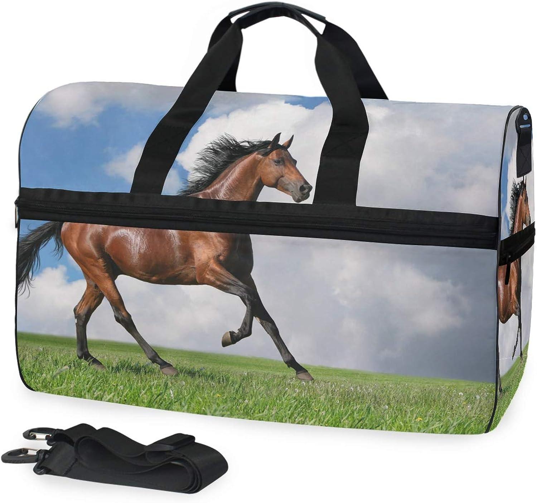 b9774a9fb FANTAZIO Horse On Prairie Sports Duffle Bag Gym Bag Travel with Adjustable  Strap Duffel nafykg1312-Sporting goods