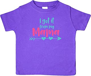 I Got It from My Mama, Arrow, Hearts - Blue Pink Baby T-Shirt