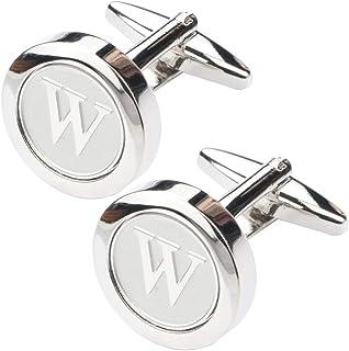 Mens Classic Stainless Steel Initial Cufflinks 26 Alphabet Initial Letter Cufflinks Business Wedding Shirts A-Z