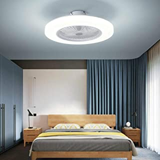 Ventilador de techo de 36 W con luz, lámpara de araña LED, luz de ventilador regulable, lámpara de techo con mando a distancia, lámpara de techo plana silenciosa, creativa invisible