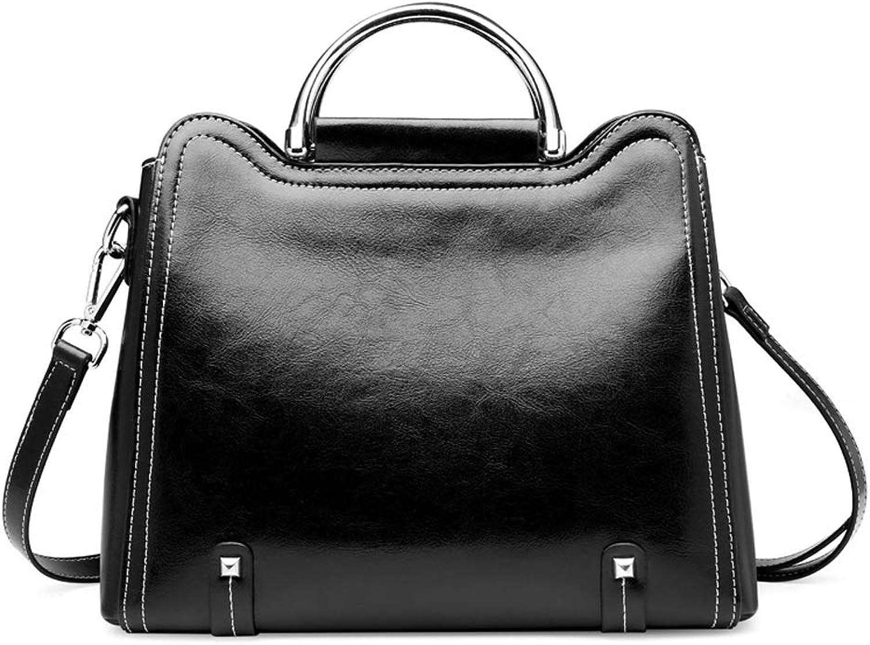 Fashion Lady Handbag, Solid color Simple Leather Diagonal Shoulder Bag, Black
