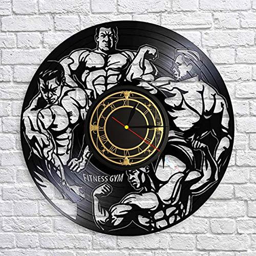SHILLPS Fitness Gym Reloj de Pared de Cuarzo silencioso Fitness Bodybuild Disco de Vinilo Reloj de Pared Reloj Sport Room Decoración de Pared Signo Sportsman Gift con LED