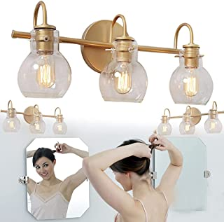 Gold Bathroom Vanity Light 3-Light Vanity Light Fixtures Stainless Steel with Golden Finish with Clear Globe Glass Shades ...