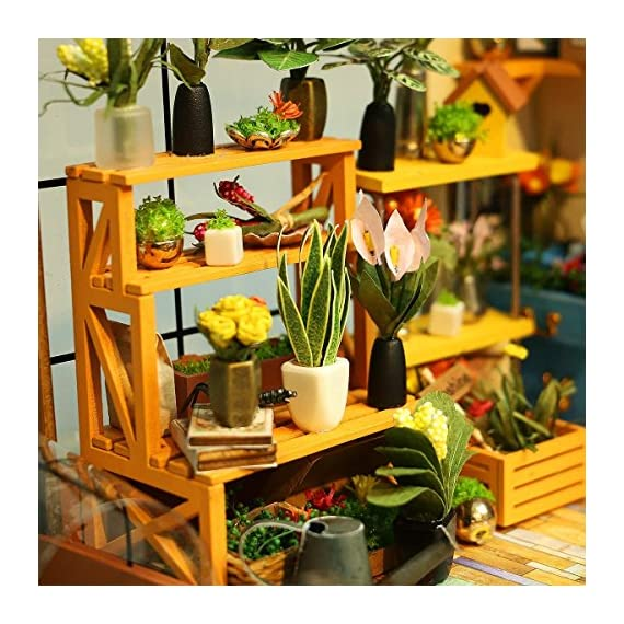 Rolife Dollhouse DIY Miniature Room Kit-Handmade Green House-Home Decoration-Miniature Model to Build-Christmas Birthday… 5 【Exquisite Mini House and Eco-Friendly Materials】Our diy mini doll house is very well made, using a miniature scale of about 1:24. All pieces are in seperate bags and a colourful step by step instruction book is included, which is a joy to read and very clear.The materials in the kit are eco-friendly, have no burrs.The paint is odorless and can also be easily washed out by water 【DIY Model Kits and A Handmade Toy】This wood model kits will make you fall in love with arts and crafts and become fulfilled. Inside the furniture suite are easy to stitching, Even if you are a beginner, follow the steps to do it will not be too hard. You can give yourself a plan, spend two hours a day to assemble, stick to it, not only develop good habits, but also make a surprise toy house 【Be Patience and Feel Amazing】To build it, patience is the ultimate key to success.It can be assembled with family, friends and lovers to experience the pleasure of hands-on.A sense of accomplishment will come when it is finished.You can redecorate it and add in your new creation.After turning on the light, it makes a comfy, cute room to look at once and awhile