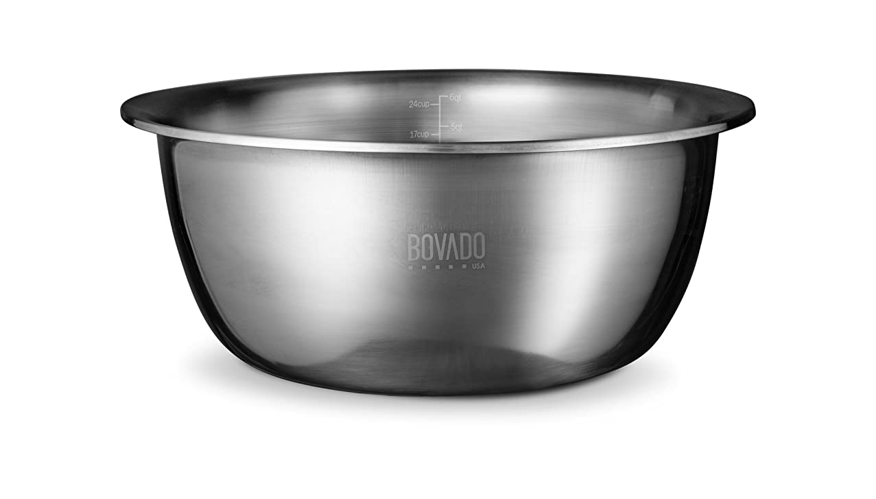 New Design Stainless Steel Mixing Bowl - 6qt - Flat Bottom Extra Wide Non Slip Base, Retains Temperature, Dishwasher Safe - By Bovado USA