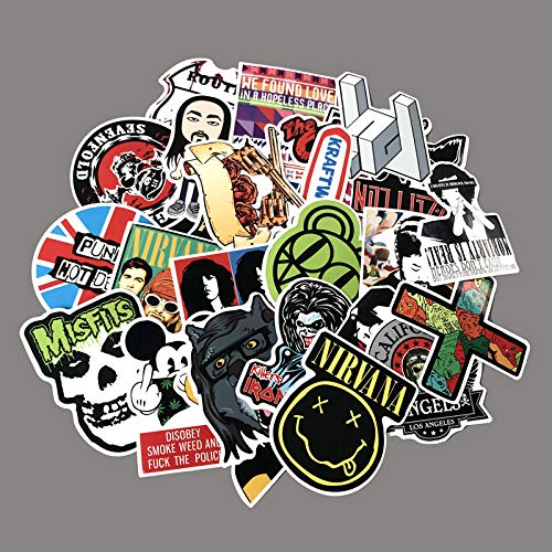 ZNMSB 60 Pegatinas de Caja de Estilo Rock and Roll Heavy Metal, Equipo de música Retro británico, Maleta, Maleta, Pegatina para Maleta