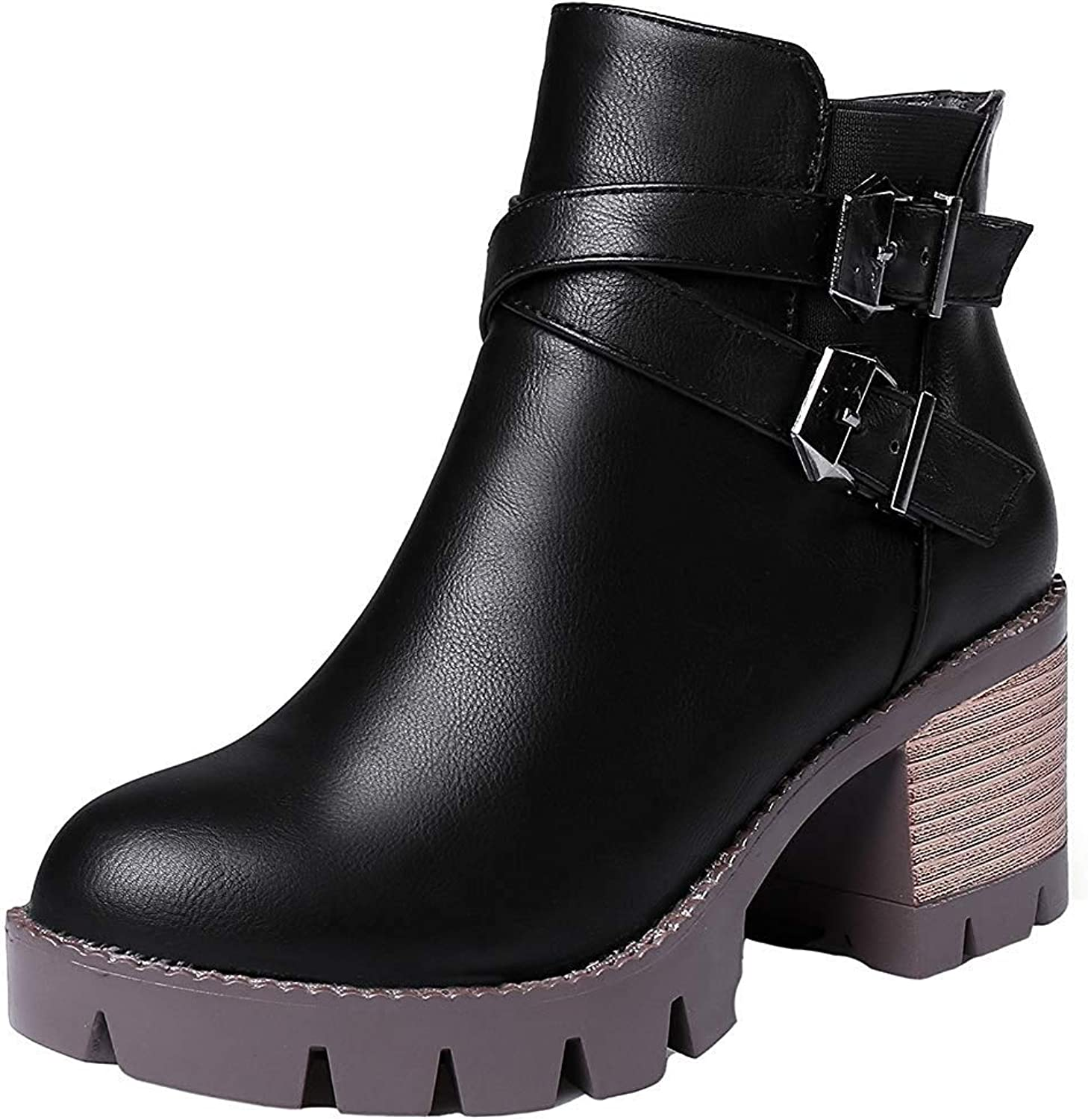 Lelehwhge Women's Trendy Buckle Zipper Round Toe Ankle High Mid Chunky Heel Short Boots Brown 8 M US