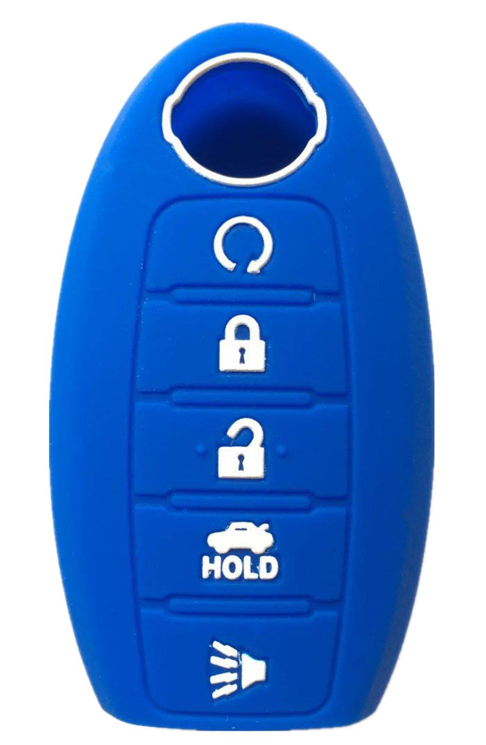 2Pcs WERFDSR Sillicone key fob Skin key Cover Keyless Entry Remote Case Protector Shell for 2013-2015 Nissan Altima Sedan Nissan Pathfinder light blue