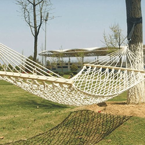 ZZSIccc Net Rope Double Hammock, Cotton Rope Reinforcement with Wooden Stick Double Outdoor Swing Hammock, White 190 * 90Cm