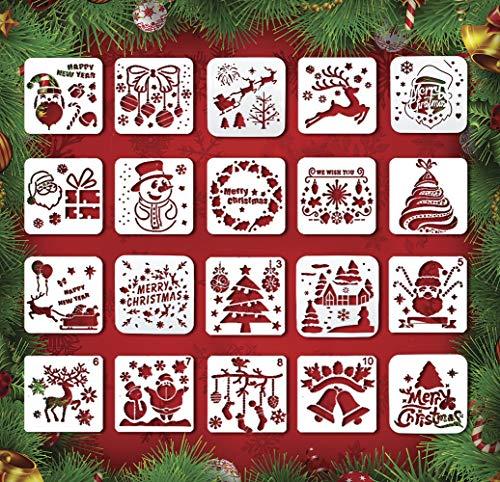 Weihnachtsschablonen - 20 Stück wiederverwendbare Kunststoff Handwerk Zeichnung Malerei Vorlage zum Sprühen von Fenster, Glastür, Auto, Karosserie, Holz