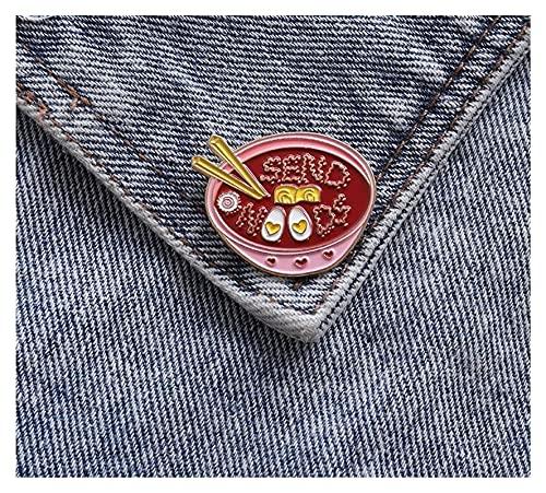 Homeilteds Eier Ramen Emaille Pin Rosa Schüssel Nudeln Nudeln Abzeichen Broschen Tasche Kleidung Revers Pin Cartoon Schmuck Geschenk (Color : Red)