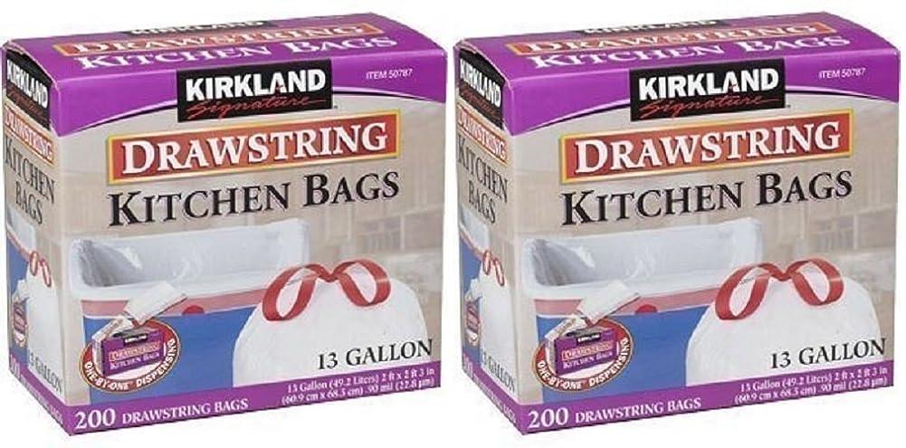 飛ぶベルトクルーズKirkland Signature Drawstring rnfifpキッチンゴミ箱バッグ?–?13ガロン、2パック(200?Count)