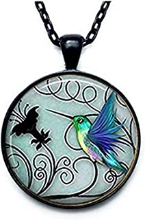 "Hummingbird Jewelry - Blue Hummingbird 20mm Necklace - Includes 18"" Chain - Hummingbird Jewelry - Bird Art - Charm Pendant"