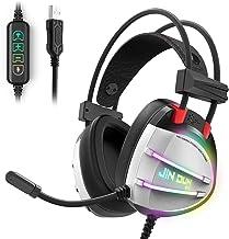 PS4 Gaming Headset, Taotique True 7.1 Surround Sound Headphones with Noise Cancelling Mic, Ergonomic Soft Earmuffs, RGB Li...