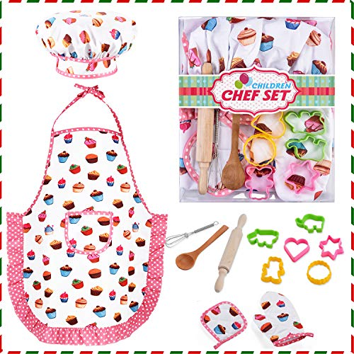 HmiL-U Chef Set for Kids - 13 Pcs Kids Cooking and Baking Set Includes Kids Apron, Chef Hat, Utensils, Cooking Mitt for Kids Chef Role Play Set , Gift for 3 Year Old Girls and up(Cake) …