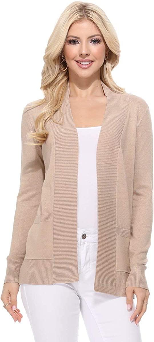 YEMAK Women's Knit Cardigan Sweater – Long Sleeve Open Front Basic Classic Casual Soft Lightweight Knitted Shrug with Pocket