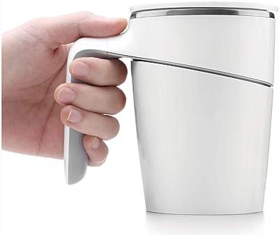 AEC® Anti-Spill Unspillable Vacuum Insulated Suction Plastic Premium Coffee Mug, (400Ml, White)