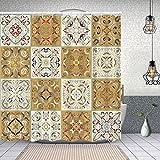YANAIX Cortina Ducha Impermeable,colección de Azulejos de cerámica Retro Colores Set,Impresión de Cortinas baño con 12 Ganchos 180x180cm