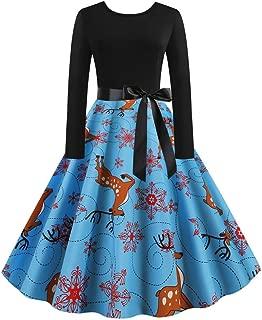 Ladies Housewife Christmas Vintage 50s Printing Long Sleeve Bow Ribbon Belt Dress