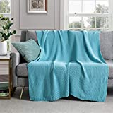 Revdomfly Turquoise Knitted Throw Blanket for Couch, 100% Cotton Cable Knit Throw Blanket Soft Cozy Decorative Sofa Chair Blankets, 50' x 60', Turquoise