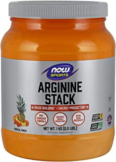 NOW Sports Nutrition, Arginine Power Super Stack with Creatine, Yerba maté, Guaraná, Rhodiola, and Green Tea Extract, Trop...