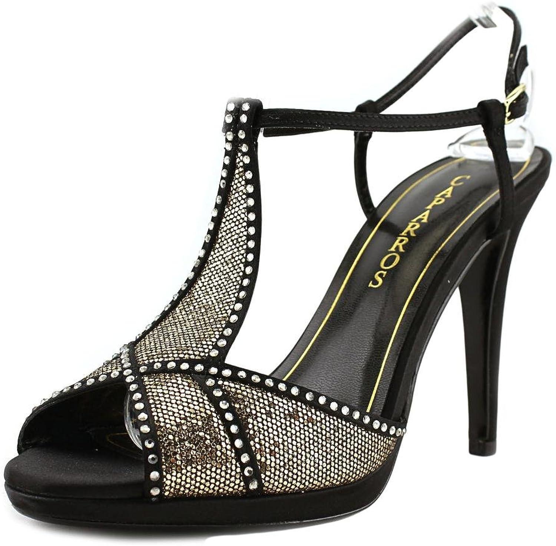 Caparros Ecstasy Rhinestone T-Strap Evening Sandals, Pewter Metallic