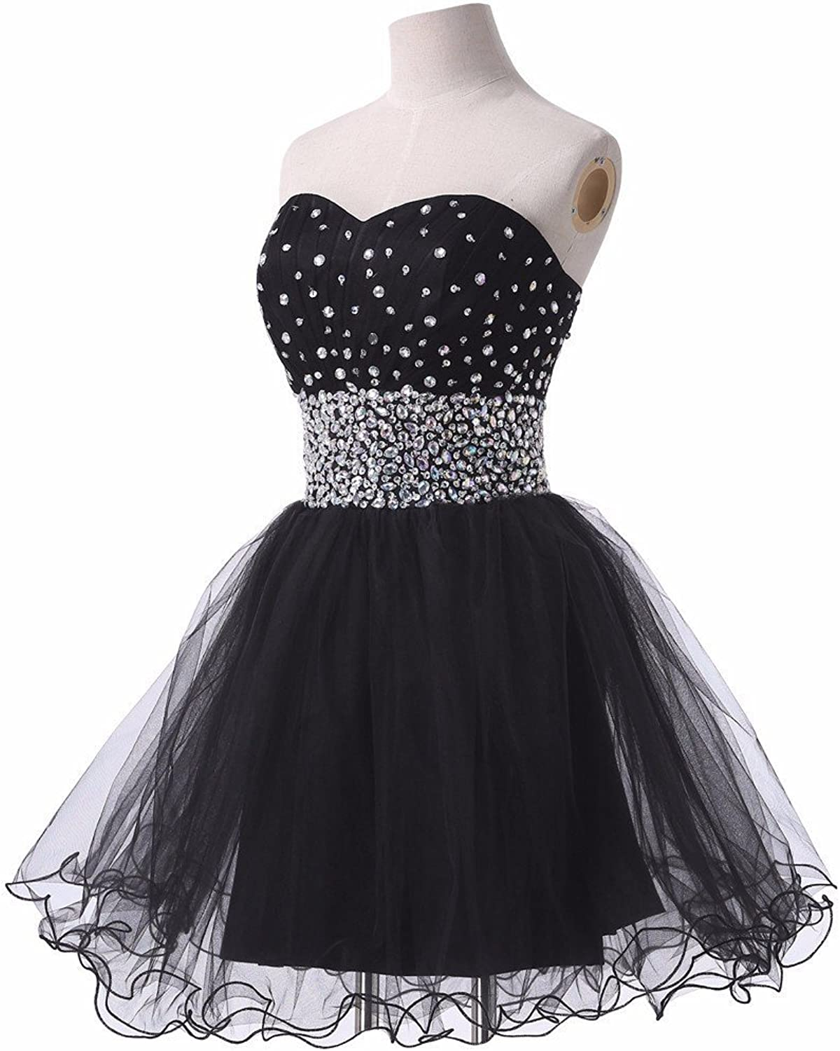 CharmingBridal Sweetheart Beaded Tulle Homecoming Dress Short Prom Party