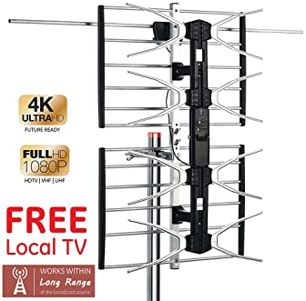 PBD Outdoor Digital HD TV Antenna with High Gain Amplifier 150 Mile Long Range for UHF/VHF, Mounting Pole, 40FT RG6 C...