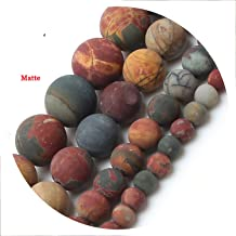 10mm Natural Stone Beads Dull Polish Matte Picasso Stone Round Loose Beads for Jewelry Making 15inches,10mm 38pcs Beads
