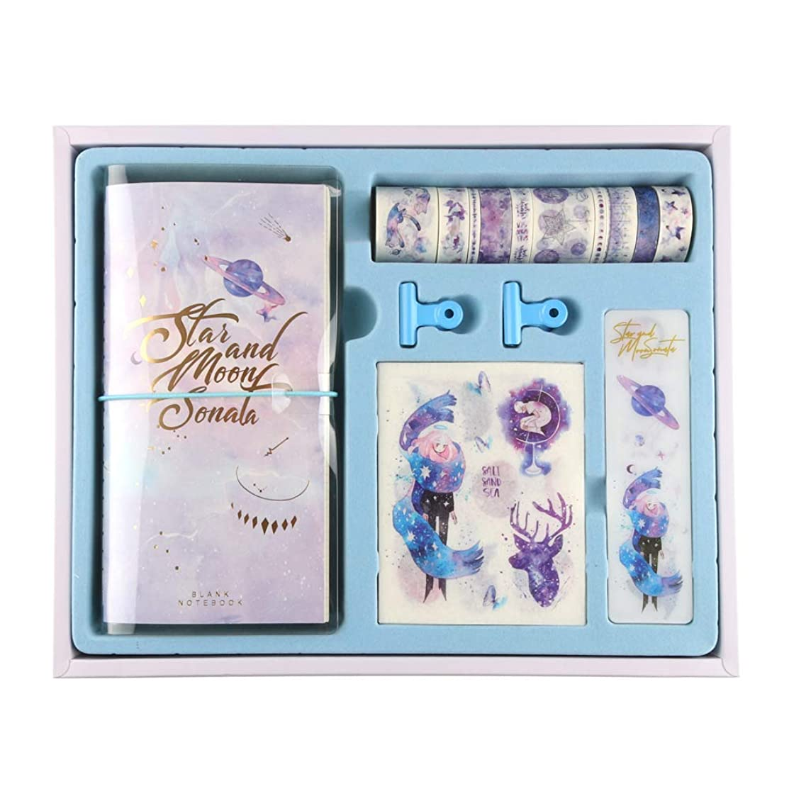 Planners Scrapbook Box Kits Craft Gifts-10rolls Washi Masking Tape,3Notebook,4Tape Dispense Board,2Metal Clips,20Stickers(About 150Pieces) for DIY,Scrapbooking,Wrapping (Brilliant Stars)