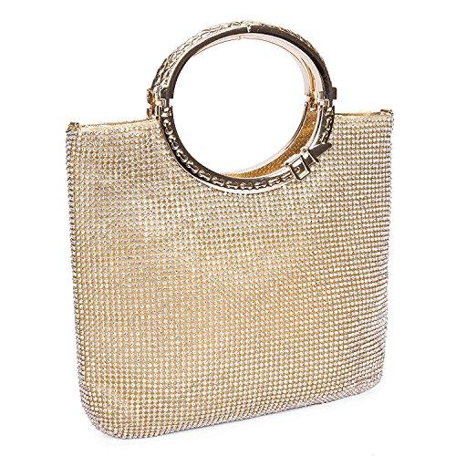 EULovelyPrice Damen Handgemachte Strass Handtasche, Abendtasche Damen Clutch Für Party (Gold)