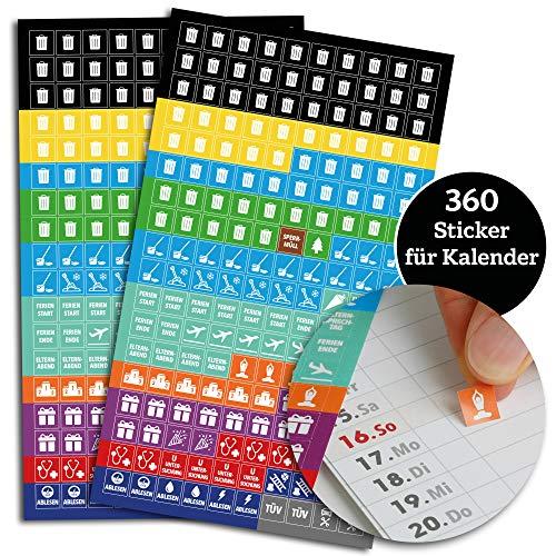Sticker für Familienplaner | 2 x 180 Aufkleber für Familienkalender | 1x1cm | markiert Ferien, Urlaub, Arzttermine, TÜV, Sport wie Joga & Gym, Geburtstage, gelber Sack, Hausmüll, Schornsteinfeger uvm.