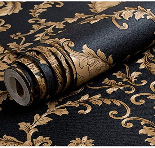 Ovoin High Grade Black Gold Luxury Embossed Texture Metallic 3D Damask Wallpaper for Wall Roll Washable Vinyl PVC Wall Paper, Black & Gold (0.53*10 Metres, 57 Sq Ft)
