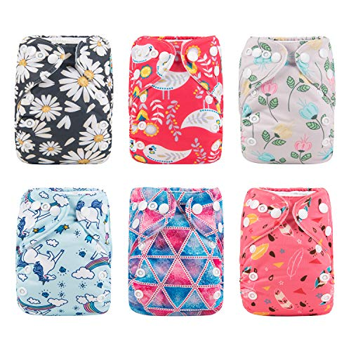 ALVABABY Baby Pocket Newborn for Less Than 12pounds Baby Snaps Cloth Diapers Nappy 6pcs with 12 Inserts 6SVB09