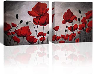 Gardenia Art Floral Artwork for Wall red Flower with Gray Background Paintings Bedroom Decorations red Bathroom Accessories 16x16 in 2 Panels Stretched and Framed