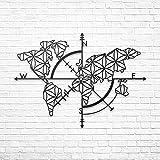 BAUPOR - Brújula de metal con diseño de mapa del mundo en 3D, silueta de metal para decoración de pared para el hogar, oficina, dormitorio, sala de estar, obras de arte elegantes (96 x 24 x 62 cm)