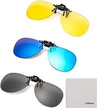 Litbun 3 PACK, Clip on Sunglasses Flip up Polarized Lens For Prescription Glasses, Over RX Eyeglasses UV Protection, Black...