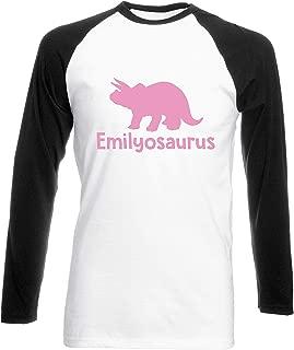 Julie Alcott Personalised Your Name osaurus Triceratops Dinosaur Pink Womens Long Sleeve Baseball Two Tone t-Shirt