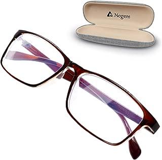 デスクワークのためのブルーライトカットメガネ パソコン用メガネ ビジネス向き クリアレンズ 軽量 Nogees (アンバーブラウン)