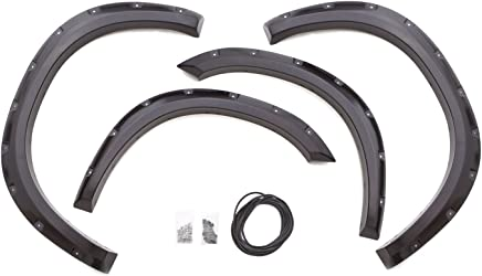 Lund RX204S Elite Series Black Rivet Style Standard Front and Rear Fender Flare - 4 Piece