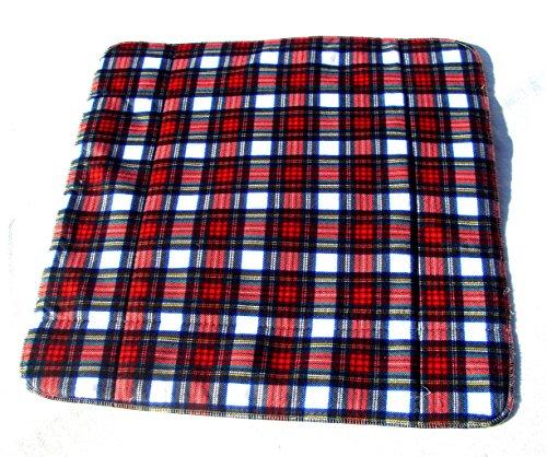 MEX-LINE Inkontinenz Stuhlauflage Design: Karo rot, wasserdichte Sitzauflage/Sitzkissen/Nässeschutz, waschbar und wiederverwendbar, ca. 45 x 45 cm