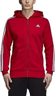 adidas Athletics Essentials 3 Stripes Full-Zip Fleece Hoodie, Scarlet/White