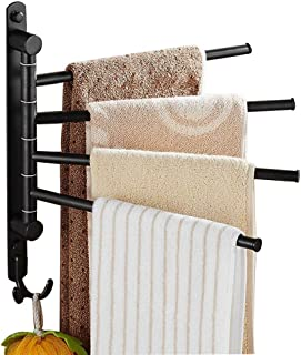ELLO&ALLO Oil Rubbed Bronze Towel Bars for Bathroom Wall Mounted Swivel Towel Rack Holder with Hooks 4-Arm