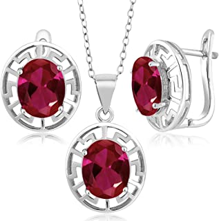 Gem Stone King 925 Sterling Silver Red Created Ruby Pendant Earrings Set For Women, 7.50 Ct Oval With 18 Inch Silver Chain